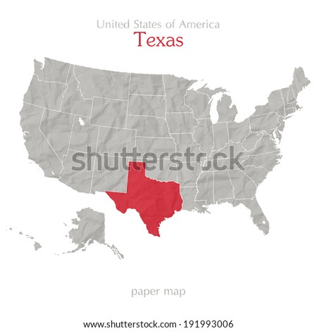 United States of America map and Texas territory on paper background - stock vector