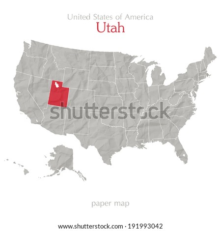 United States of America map and Utah territory isolated on white background - stock vector