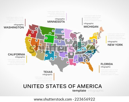 United states of america map concept infographic template with states made out of puzzle pieces - stock vector