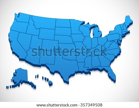 United States America Map 3 D Illustration Stock Vector 357349508