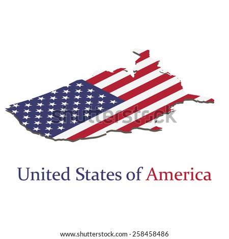 United states of America. Map with flag of America. Isometric. Elements of this image furnished by NASA. Vector.  - stock vector