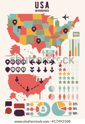 United States America Map Infographics Elements Stock Vector - United states of anerica map