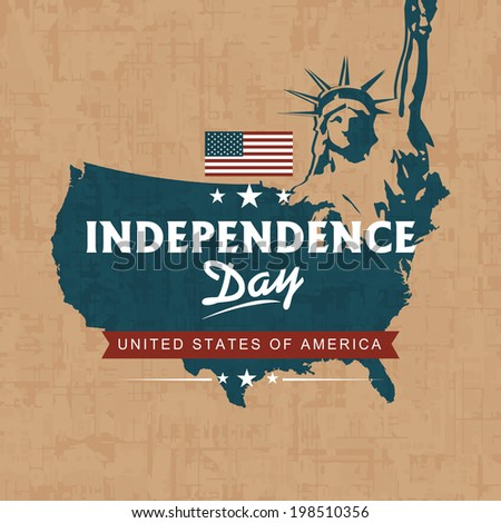 United states of America Map with Statue of Liberty on grungy brown background for American Independence Day celebrations.