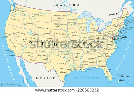 United States of America Political Map with capital Washington, national borders, most important cities, rivers and lakes. With single states, their borders and capitals, except Hawaii and Alaska. - stock vector
