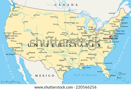 United States of America Political Map with capital Washington, national borders, most important cities, rivers and lakes, except Hawaii and Alaska. English labeling and scaling. - stock vector
