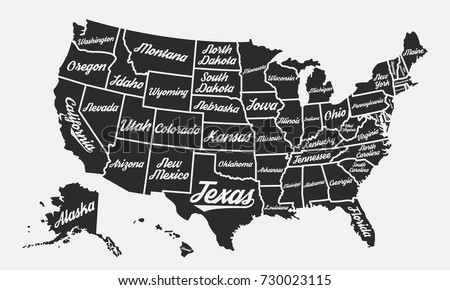 United States America Poster Map Usa Stock Vector - Black and white usa map