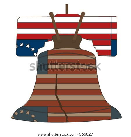 United States of America's liberty bell with the 13 colony colonial flag pattern. - stock vector