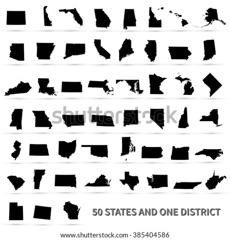 United States of America 50 states and 1 federal district. US states map. - stock vector