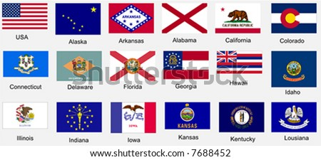 United States of America States Flags Collection Series. File I of III