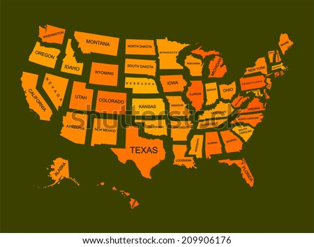 United States of America 50 states vector map isolated on green background. American separated country silhouette illustration.