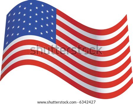 United States of America, U.S. flag blowing in the breeze - stock vector