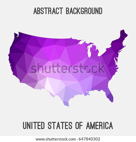 united states of america usa map in geometric polygonal mosaic style in purple shades