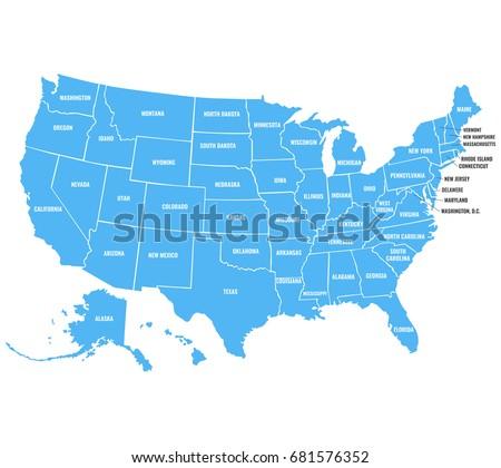 Vector Map United States America Full Stock Vector - Us map full names