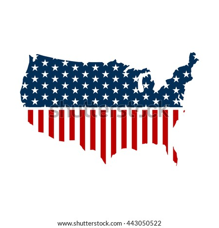 United States Patriotic Map Graphic Vector Stock Vector 443050522