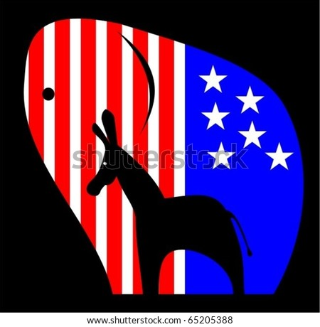 United States Political Symbols combined into one emblem - stock vector