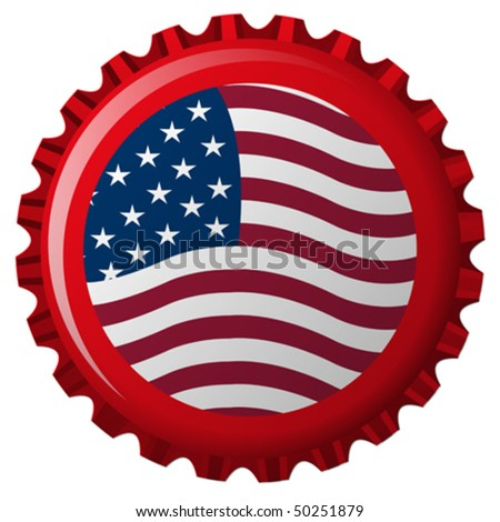 united states stylized flag on bottle cap, abstract vector art illustration - stock vector