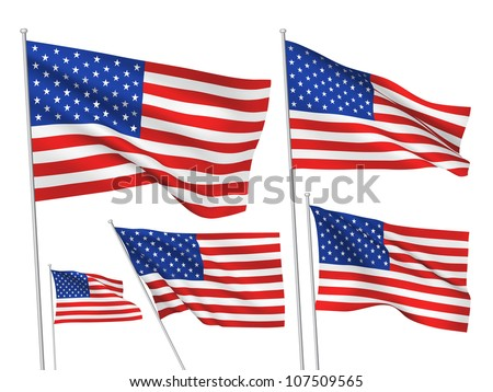 United States, USA vector flags set. 5 wavy 3D pennants fluttering on the wind. EPS 8 created using gradient meshes isolated on white background. Five flagstaff design elements from world collection