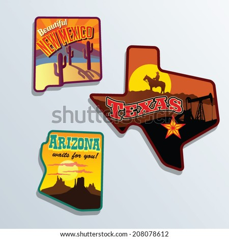 United States vector illustrations Texas, Arizona, Mew Mexico - stock vector