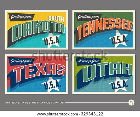 United States vintage typography postcards. South Dakota, Tennessee, Texas, Utah - stock vector