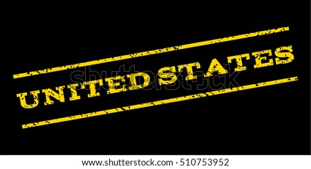 United States watermark stamp. Text tag between parallel lines with grunge design style. Rubber seal stamp with unclean texture. Vector yellow color ink imprint on a blue background.