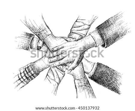 Unity of hands sketch vector illustration  - stock vector