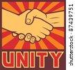unity poster (unity design, handshake) - stock vector