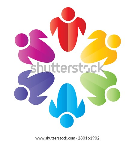 Unity Together Man, Women, Student, Vector concept illustration. - stock vector