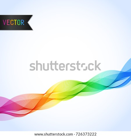 Universal Abstract Bright Background with Rainbow Wave Line. Smooth Wavy Horizontal Colorful Curved Line.