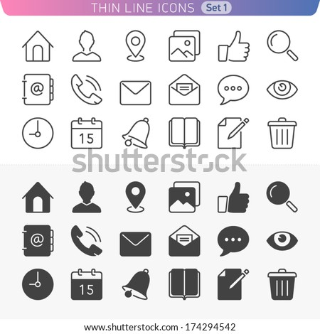 Universal basic set. Trendy line icons for web and mobile. Normal and enable state. - stock vector