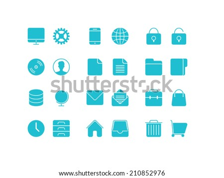 Universal Basic set. Trendy thin icons for web and mobile. Full versions - stock vector