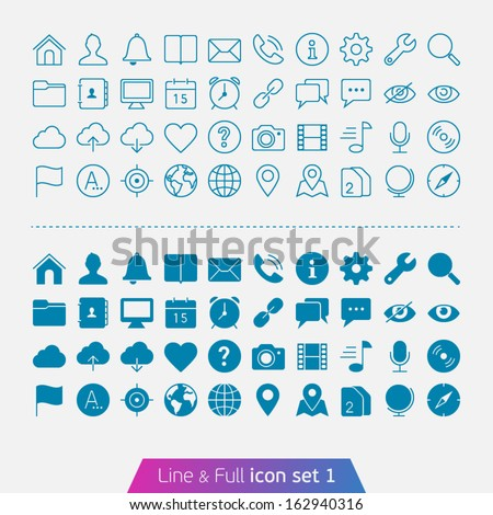 Universal Basic set 1. Trendy thin icons for web and mobile. Line and full versions. - stock vector