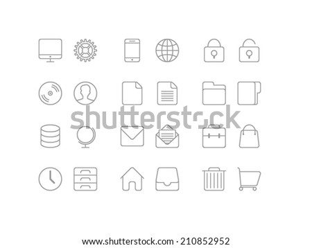 Universal Basic set. Trendy thin icons for web and mobile. Line versions - stock vector