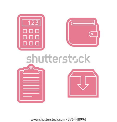 Universal business sticker icons set. Vector icons - stock vector