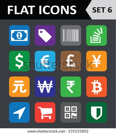 Universal Colorful Flat Icons. Set 6. - stock vector