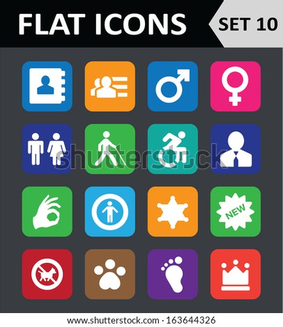 Universal Colorful Flat Icons. Set 10. - stock vector