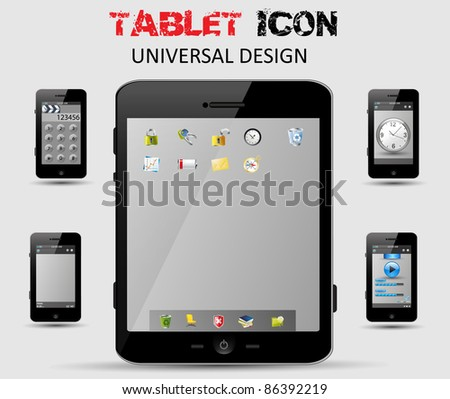 Universal design Tablet, computer and phone with icons, easy editable - stock vector