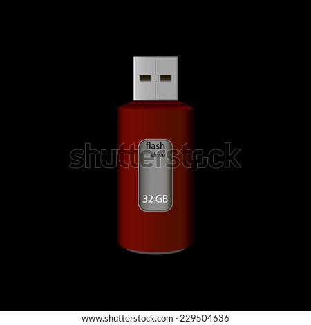 Universal flash drive isolated on the black background. Vector illustration