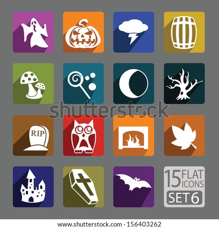 Universal flat icons for web and mobile applications. Halloween. Set 6 - stock vector