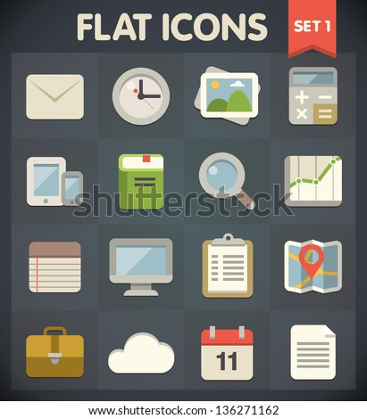 Universal Flat Icons for Web and Mobile Applications Set 1 - stock vector