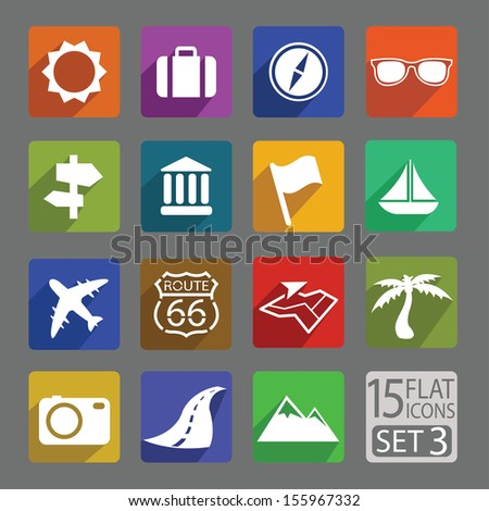 Universal flat icons for web and mobile applications. Travel. Set 3 - stock vector
