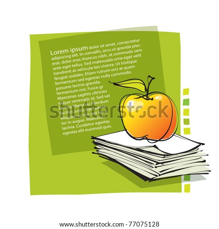 universal fresh page layout with apple icon, freehand drawing (vector) - stock vector