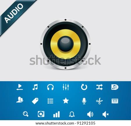 Universal glyphs 4. Audio and music set 1 - stock vector