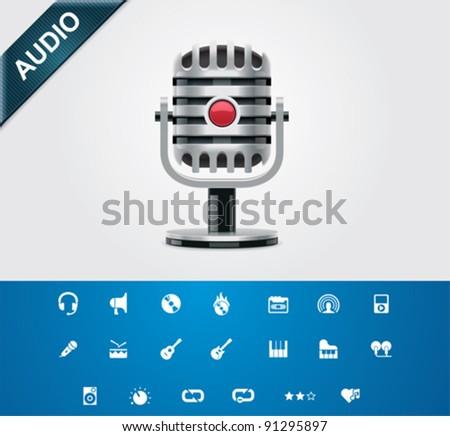 Universal glyphs 5. Audio and music set 2 - stock vector