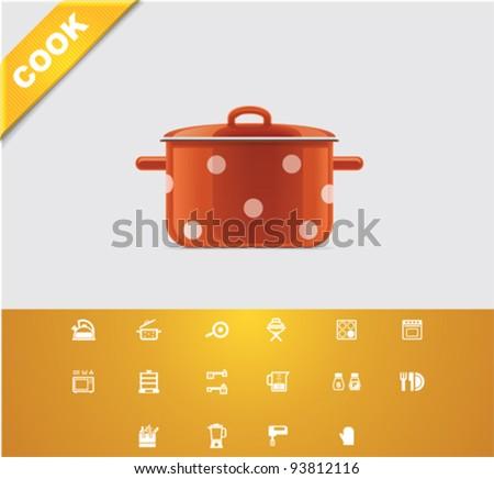Universal glyphs 22. Cooking - stock vector