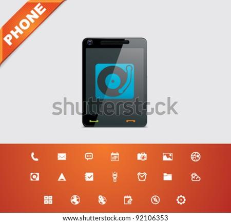 Universal glyphs 18. Phone symbols 5 - stock vector