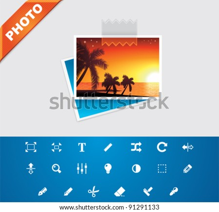 Universal glyphs 3. Photo set 2 - stock vector