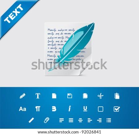 Universal glyphs 6. Text editing - stock vector