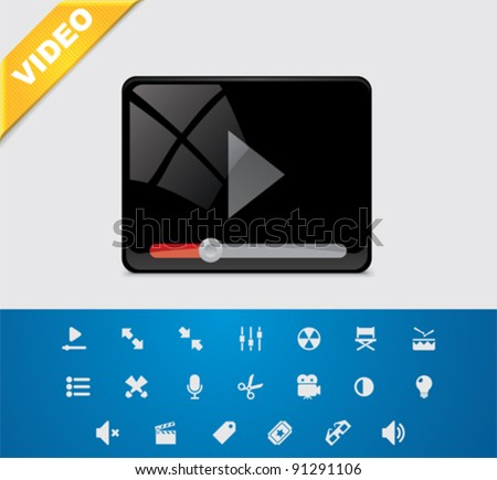 Universal glyphs 1. Video set - stock vector