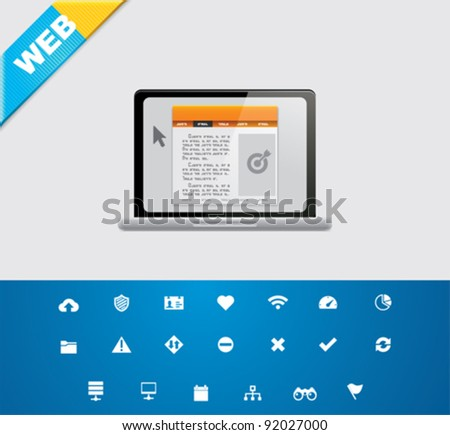 Universal glyphs 8. Web icons - stock vector