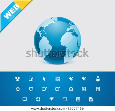 Universal glyphs 9. Web icons - stock vector
